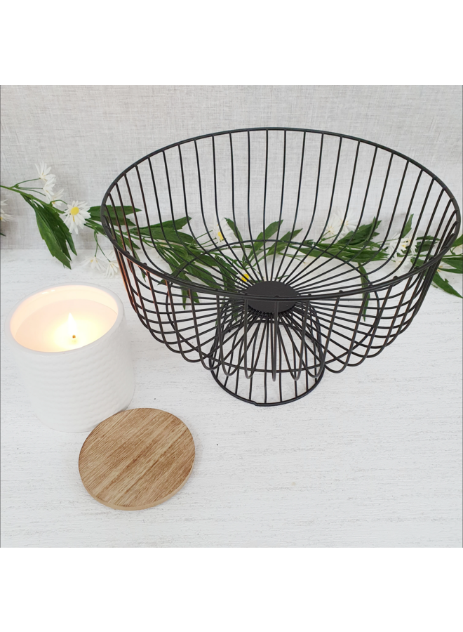 Black Wire Fruit Bowl Tiered