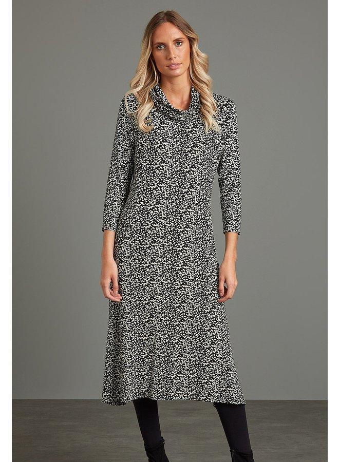 Adini Doreen Dress in Scatter Spot Black Print