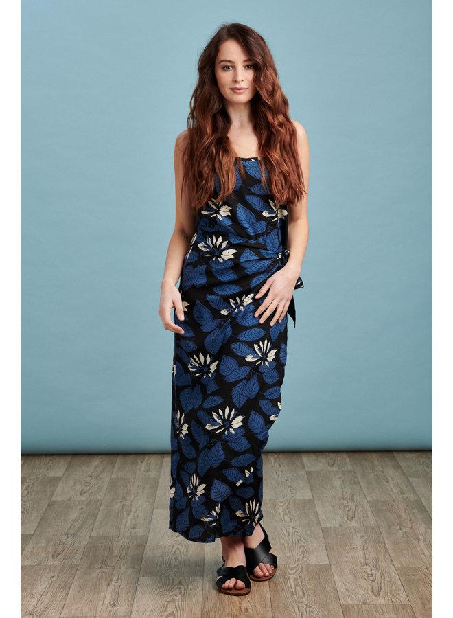 Sarah Maxi Sarong Dress in Leaf Print