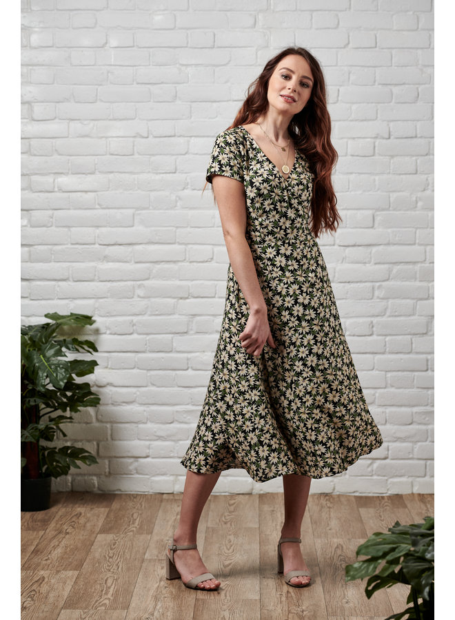 Jaba Ruby Wrap Midi Dress in Green Daisy