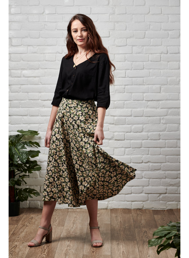 Jaba Iva Wide Leg Culottes in Green Daisy
