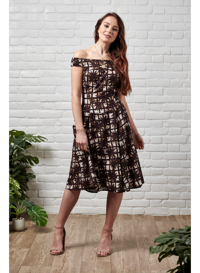 Jaba Lydia Dress in Brown Squares