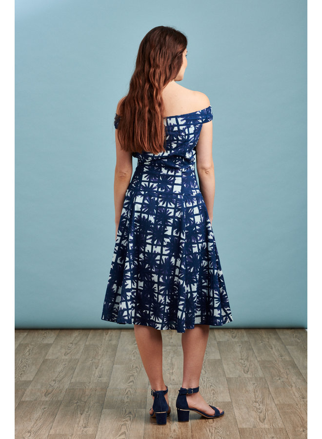 Jaba Lydia Dress in Blue Squares