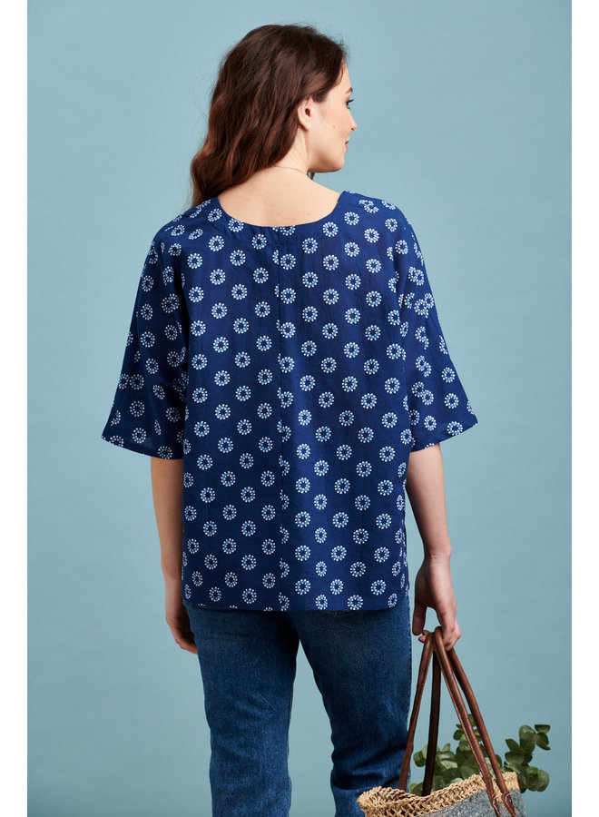 Jaba Misty Oversize Cotton Top - Block Spots