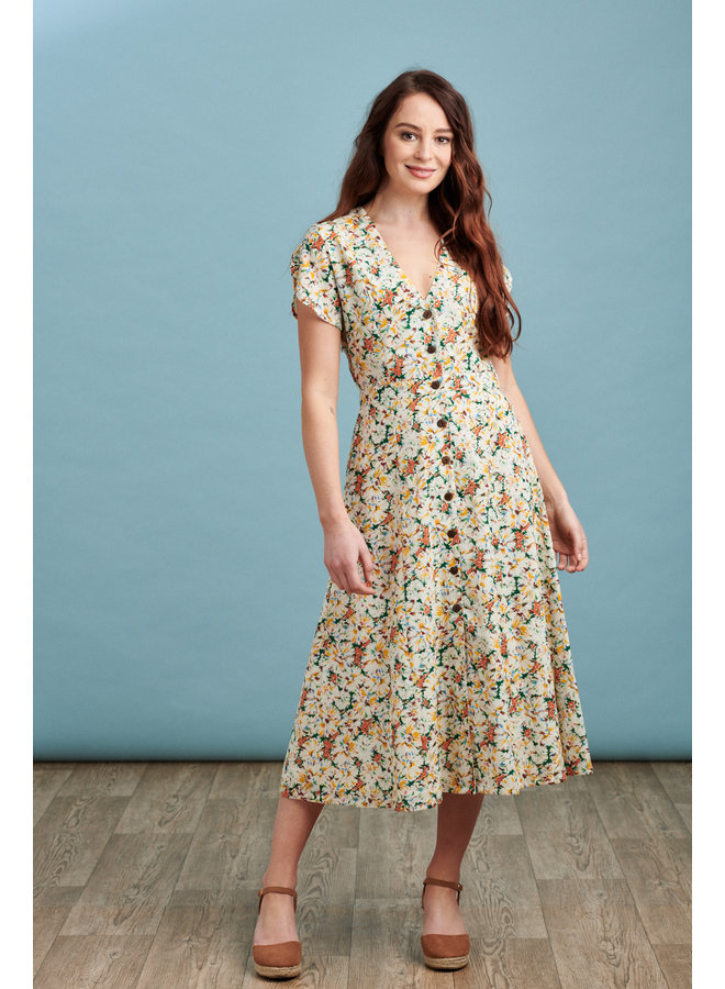 Willow Midi Dress in Vintage Flower