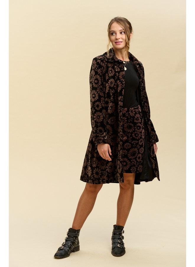 Jaba Velvet Swing Coat in FallFlower