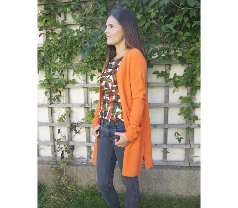 Jaba Cashmere Cardigan in Orange