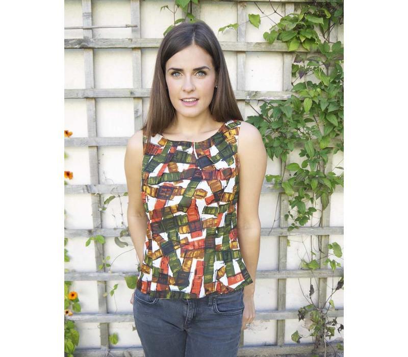 JABA Leila Top - Falling Blocks - Orange