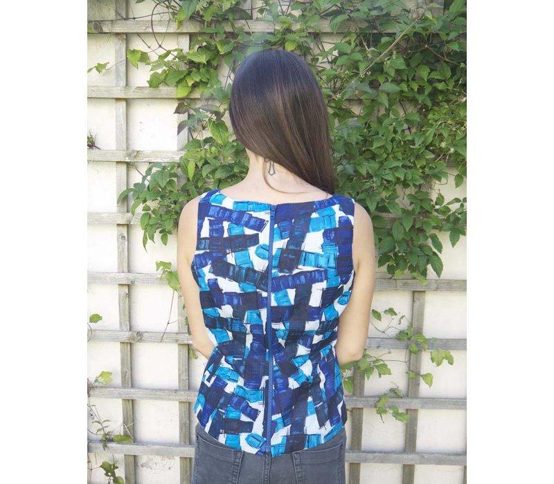 JABA Leila Top - Falling Blocks - Blue/White