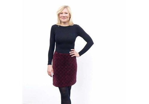 JABA Jaba Diamond Velvet Skirt in Wine