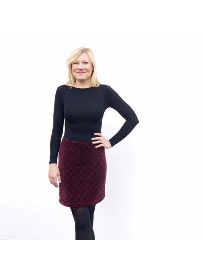 Jaba Diamond Velvet Skirt in Wine