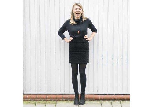 JABA JABA Diamond Velvet Skirt in True Black