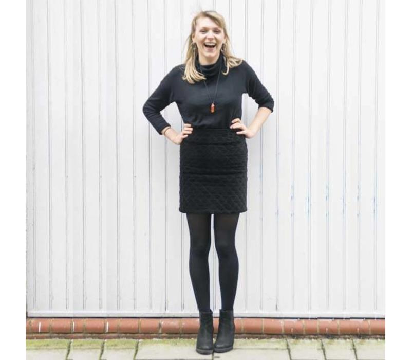 JABA Diamond Velvet Skirt in True Black