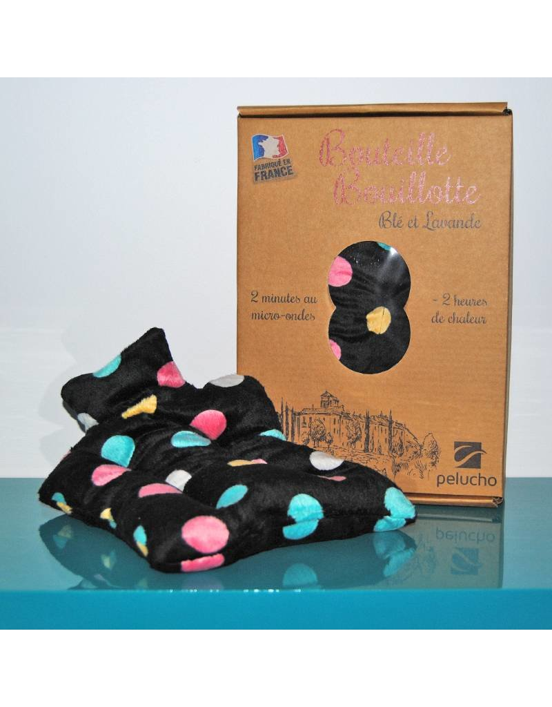 Pelucho Lavendel warmtekussentje kruik - zwart met gekleurde stippen