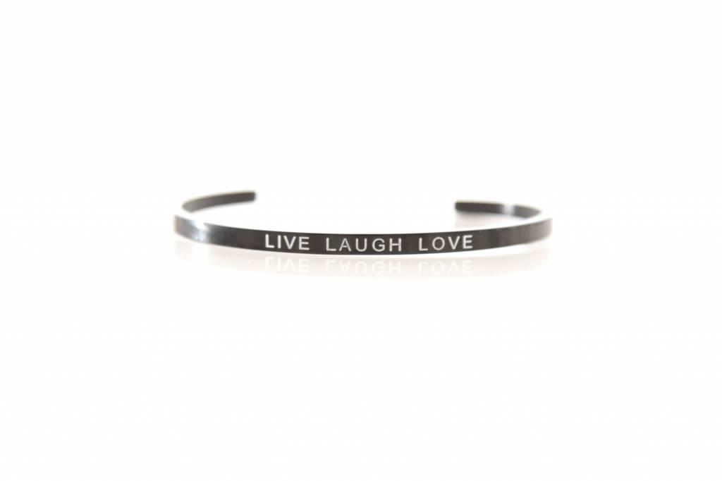 """LIVE LOVE LAUGH"" - Armreifen SCHWARZ"