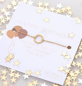 "HAPPY B-DAY ""CIRCLE"" Armkettchen gold"