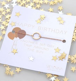 "HAPPY B-DAY ""CIRCLE"" Armkettchen rosegold"