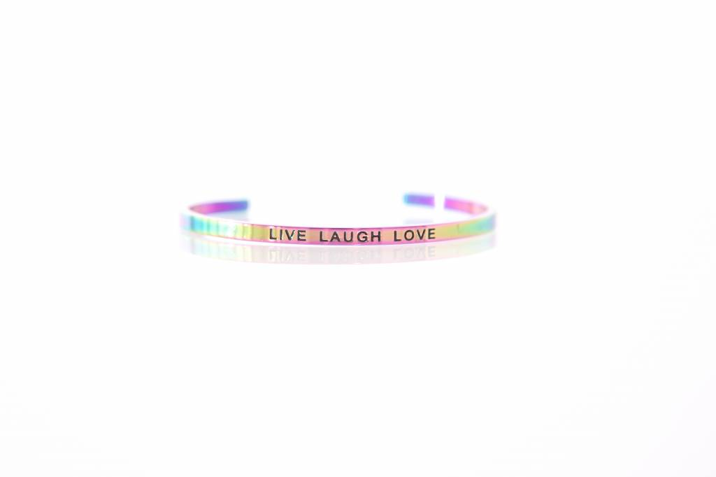 """LIVE LOVE LAUGH"" - Armreifen RAINBOW"