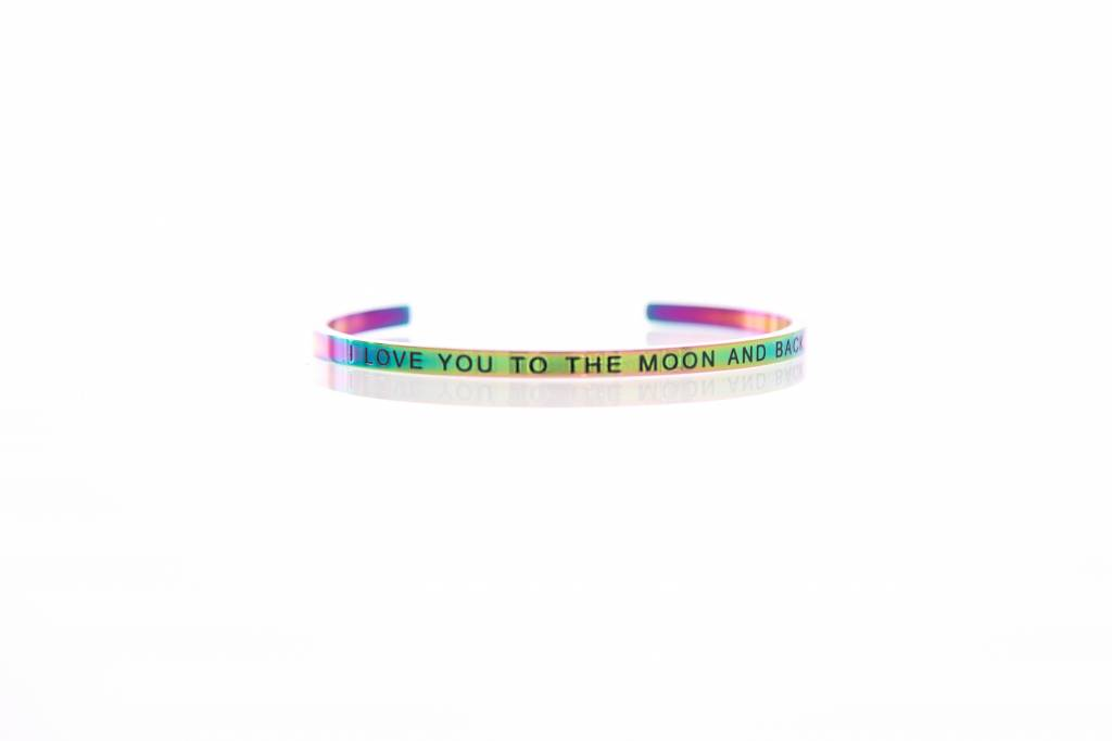 """I LOVE YOU TO THE MOON AND BACK"" - Armreifen RAINBOW"