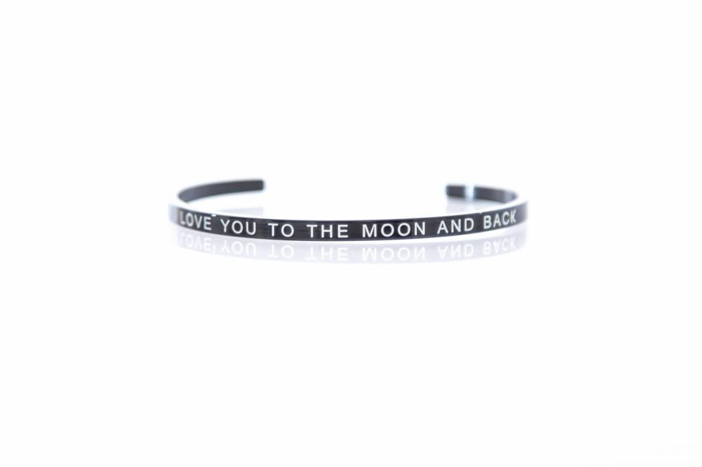 """I LOVE YOU TO THE MOON AND BACK"" Armreifen SCHWARZ"