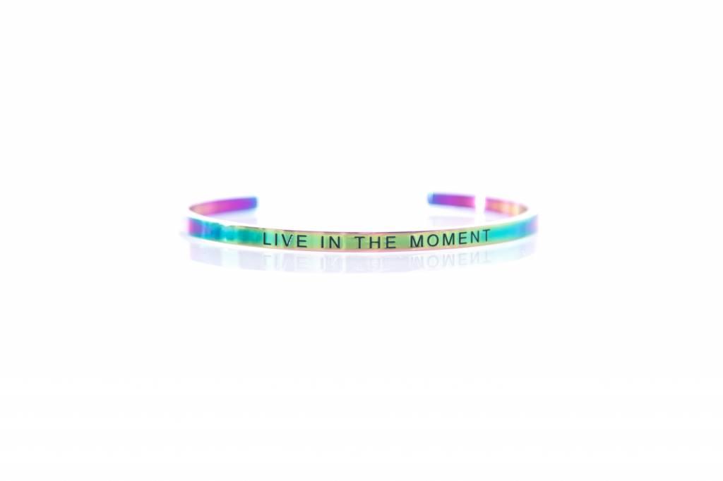 """LIVE IN THE MOMENT"" - Armreifen RAINBOW"