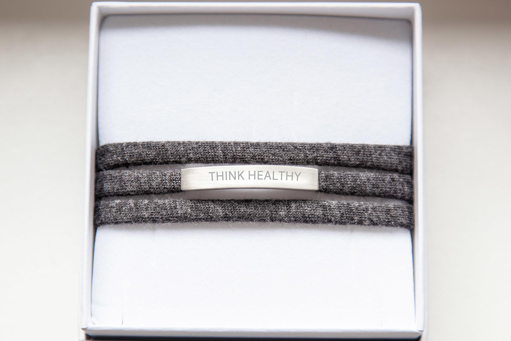 """THINK HEALTHY"" silver matt"