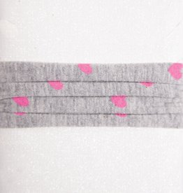 Grey with Pink Hearts