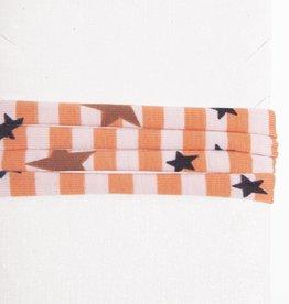 Striped Orange White & Stars