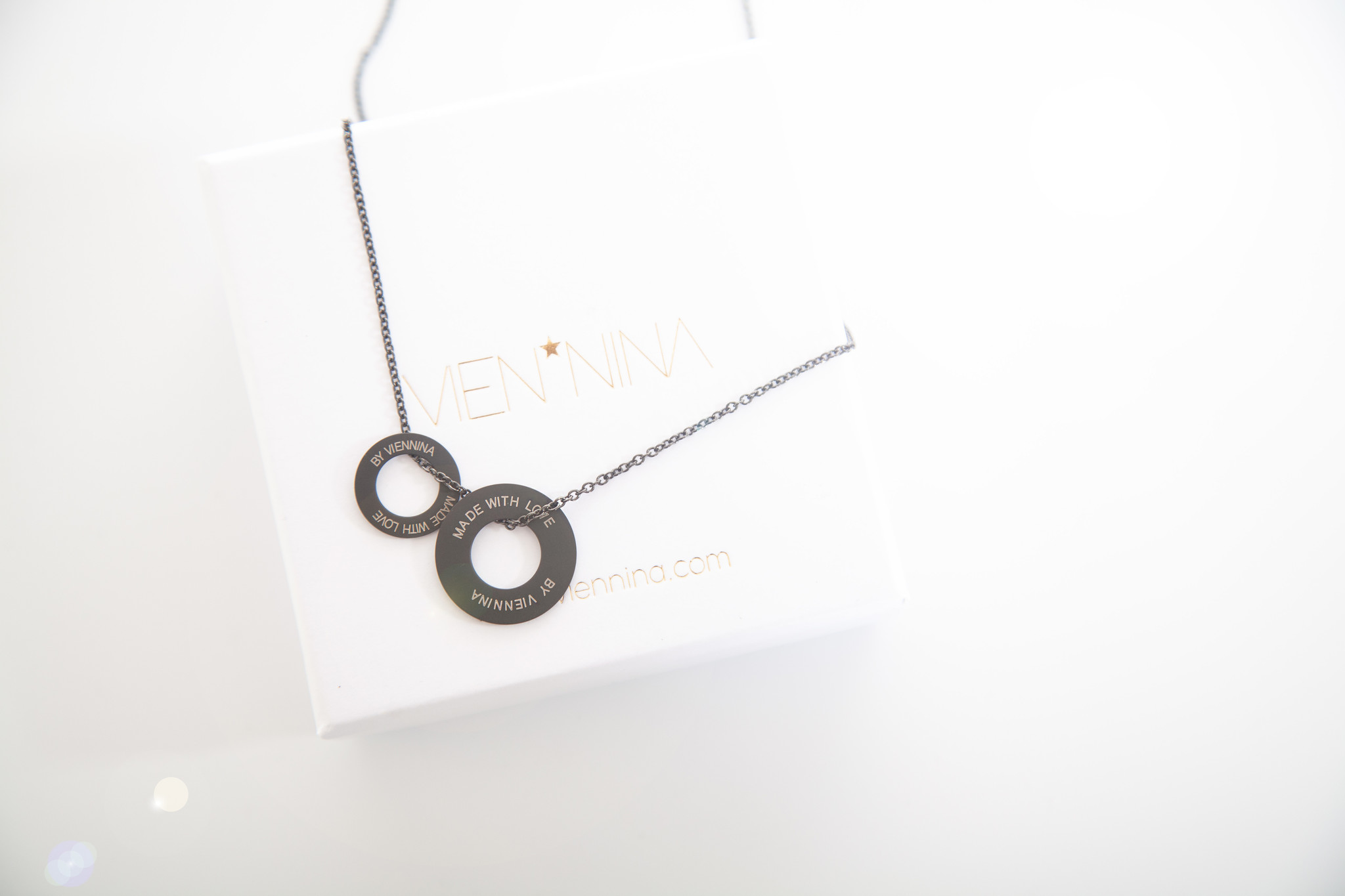 "NECKLACE/ large black matt/ ""MADE WITH LOVE BY VIENNINA"" / N*FINITY"
