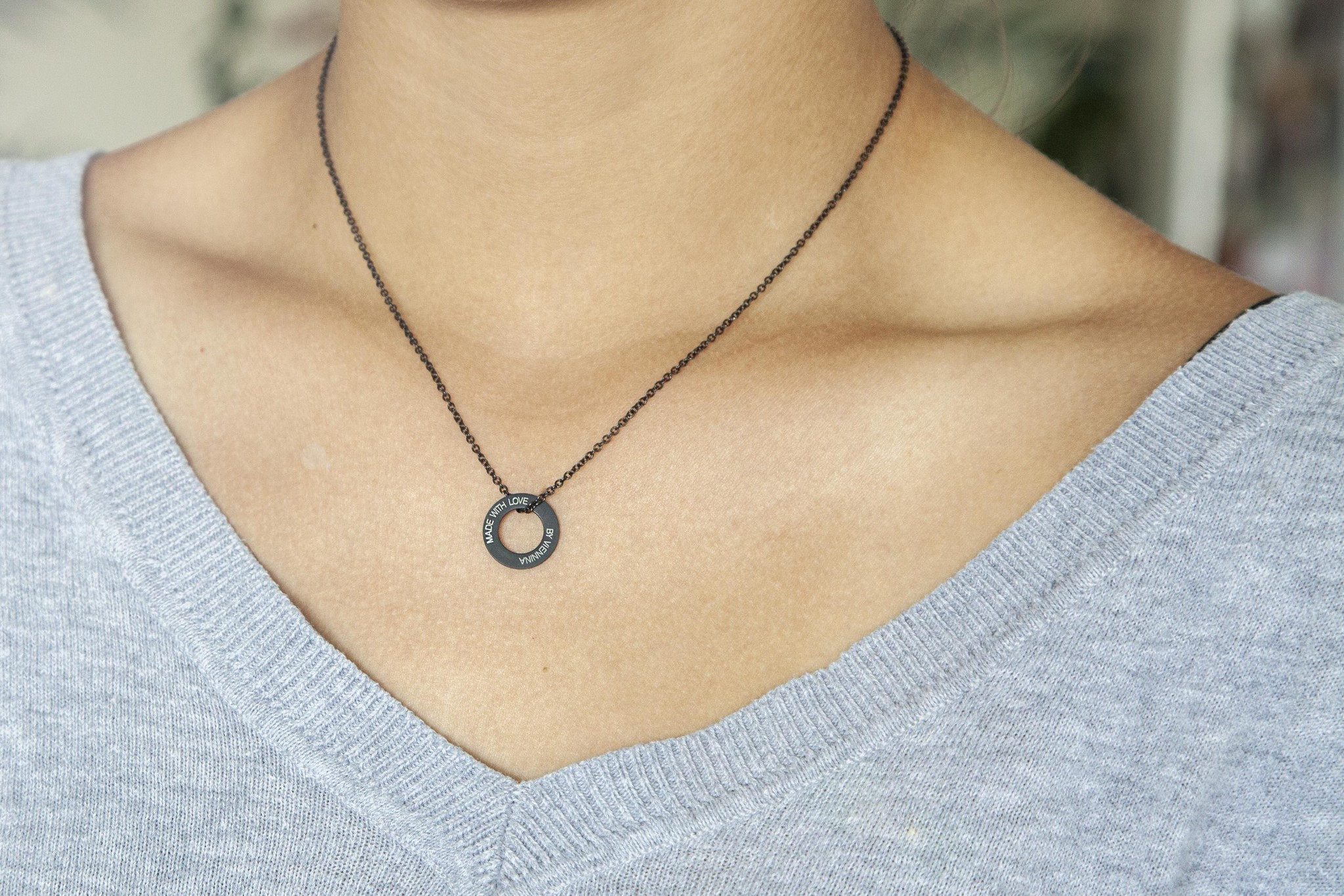 "NECKLACE/ small black matt /""MADE WITH LOVE BY VIENNINA"" / N*FINITY"