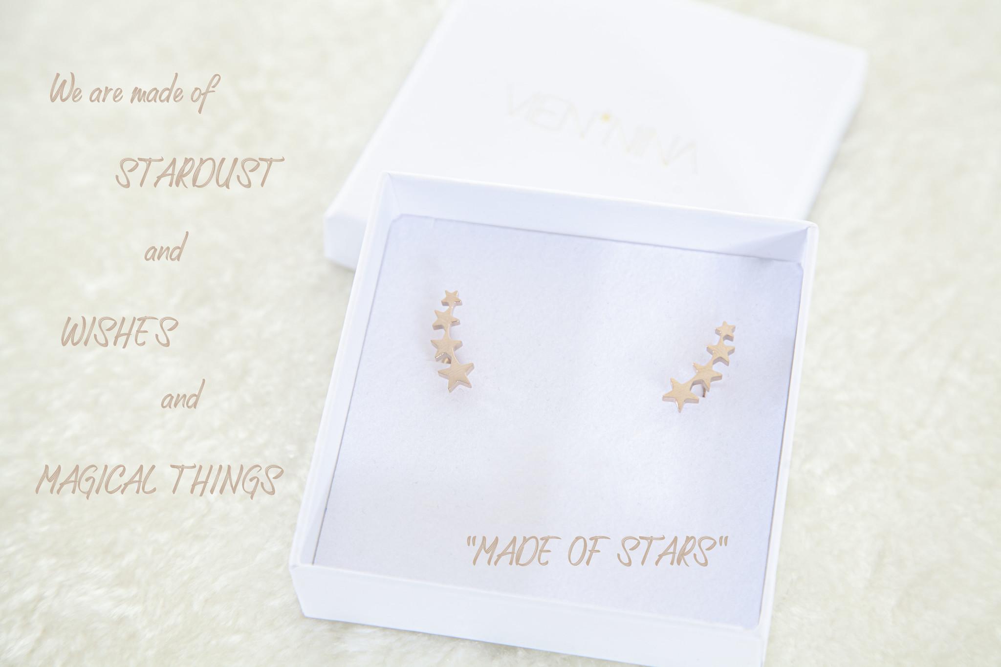 """EARRINGS """"MADE OF STARS"""" rose golden glossy"""