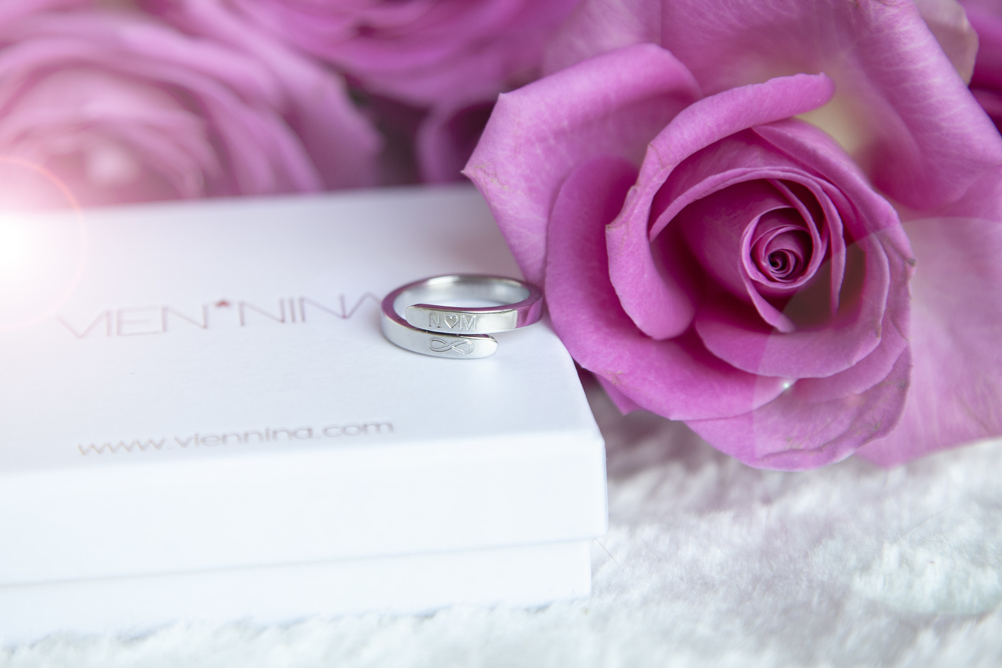 RING with ENGRAVEMENT / N*SPIRING silver glossy