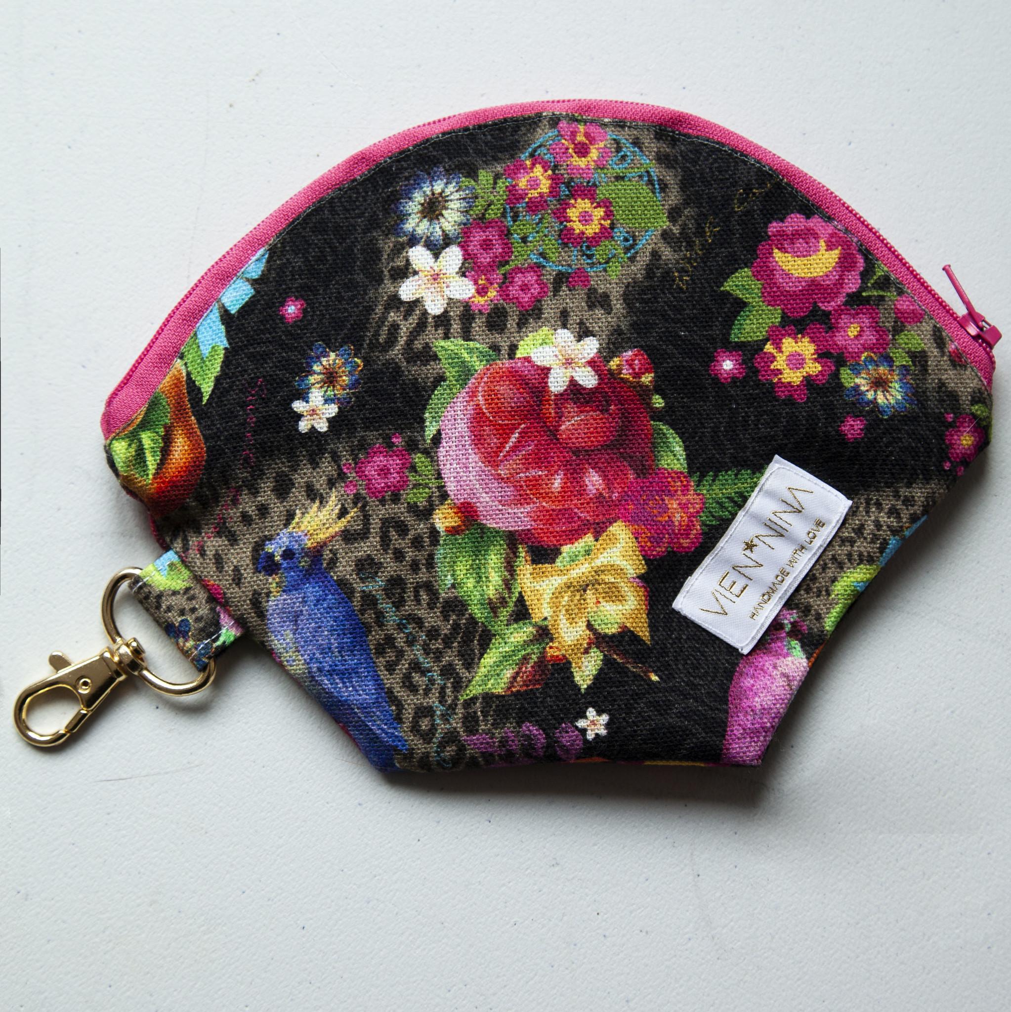 "Handmade Bag for masks ""TROPICAL BLACK"""