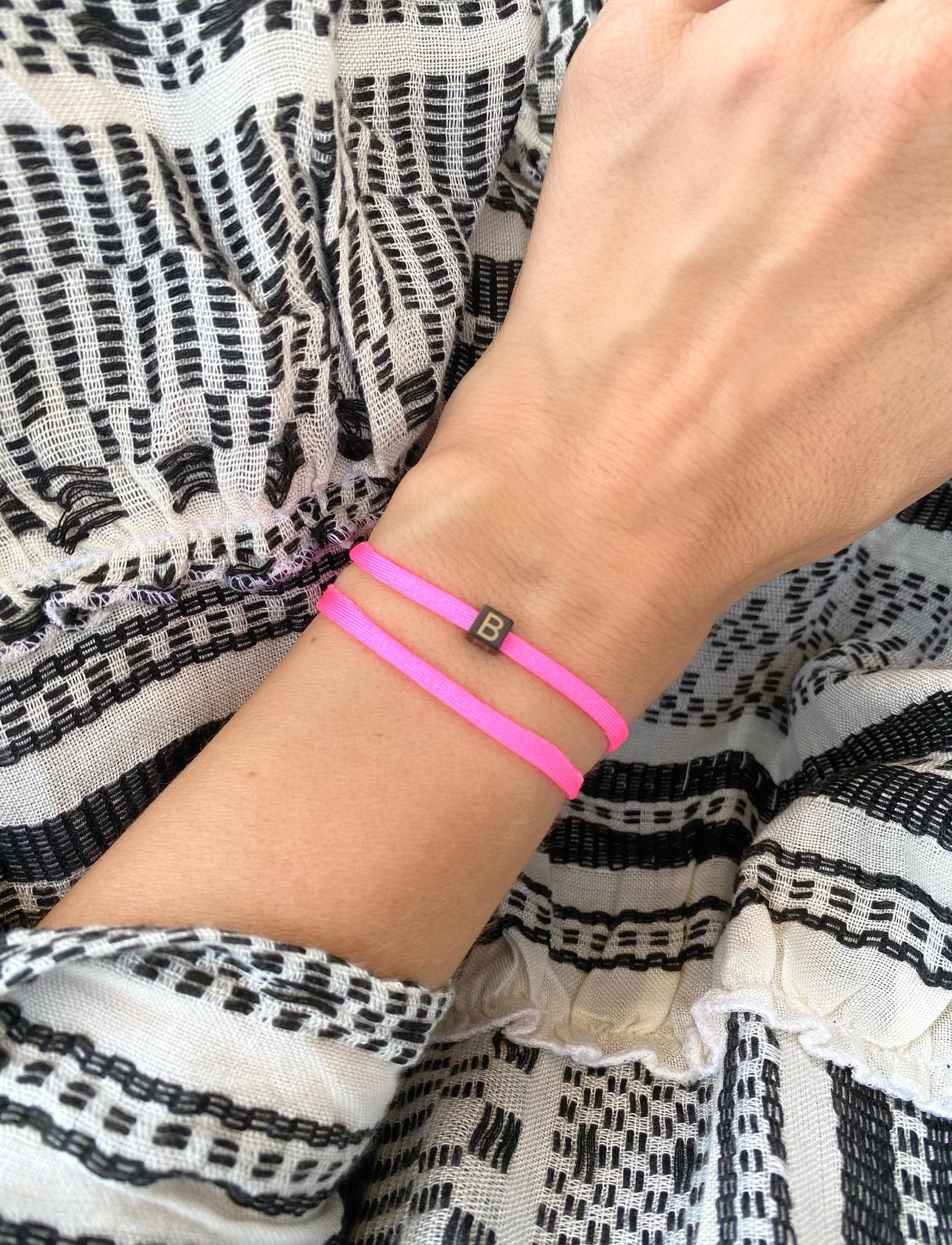 "N*ITIAL  Armband oder Halskette ""B"" schwarz"