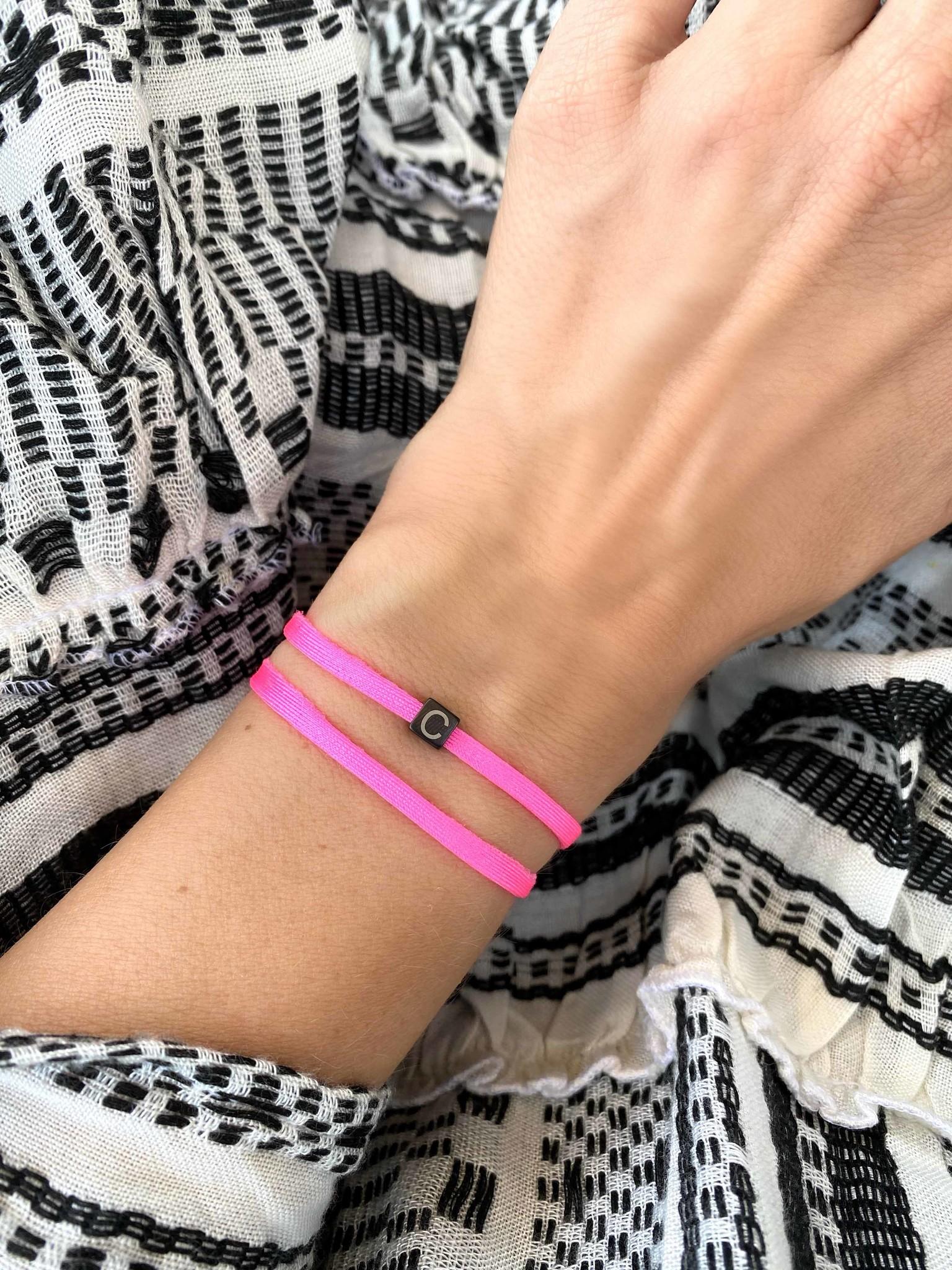 """N*ITIAL  Bracelet or Necklace """"C"""" black"""