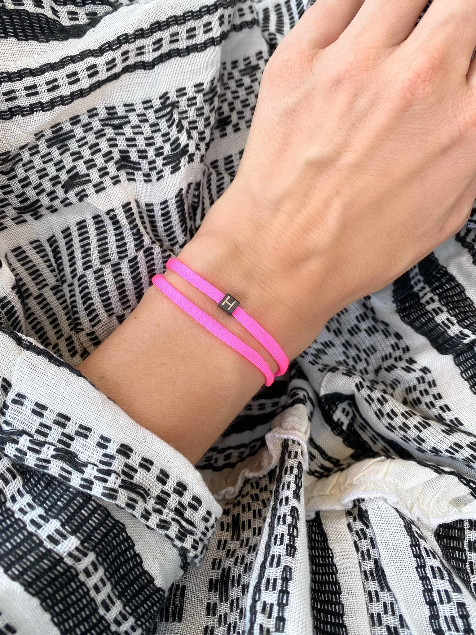 """N*ITIAL  Bracelet or Necklace """"H"""" black"""