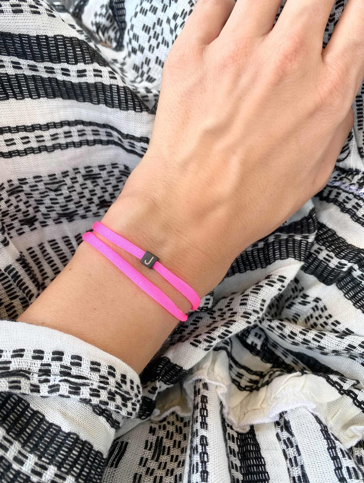 """N*ITIAL  Armband oder Halskette """"J"""" schwarz"""