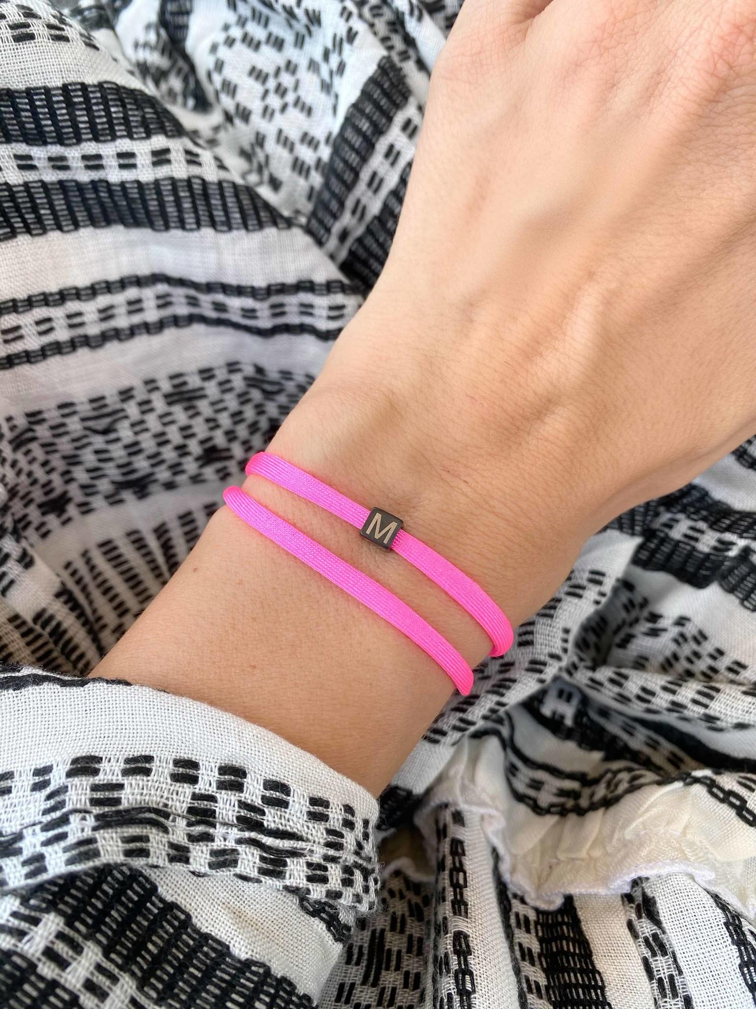 "N*ITIAL  Bracelet or Necklace ""M""  black"