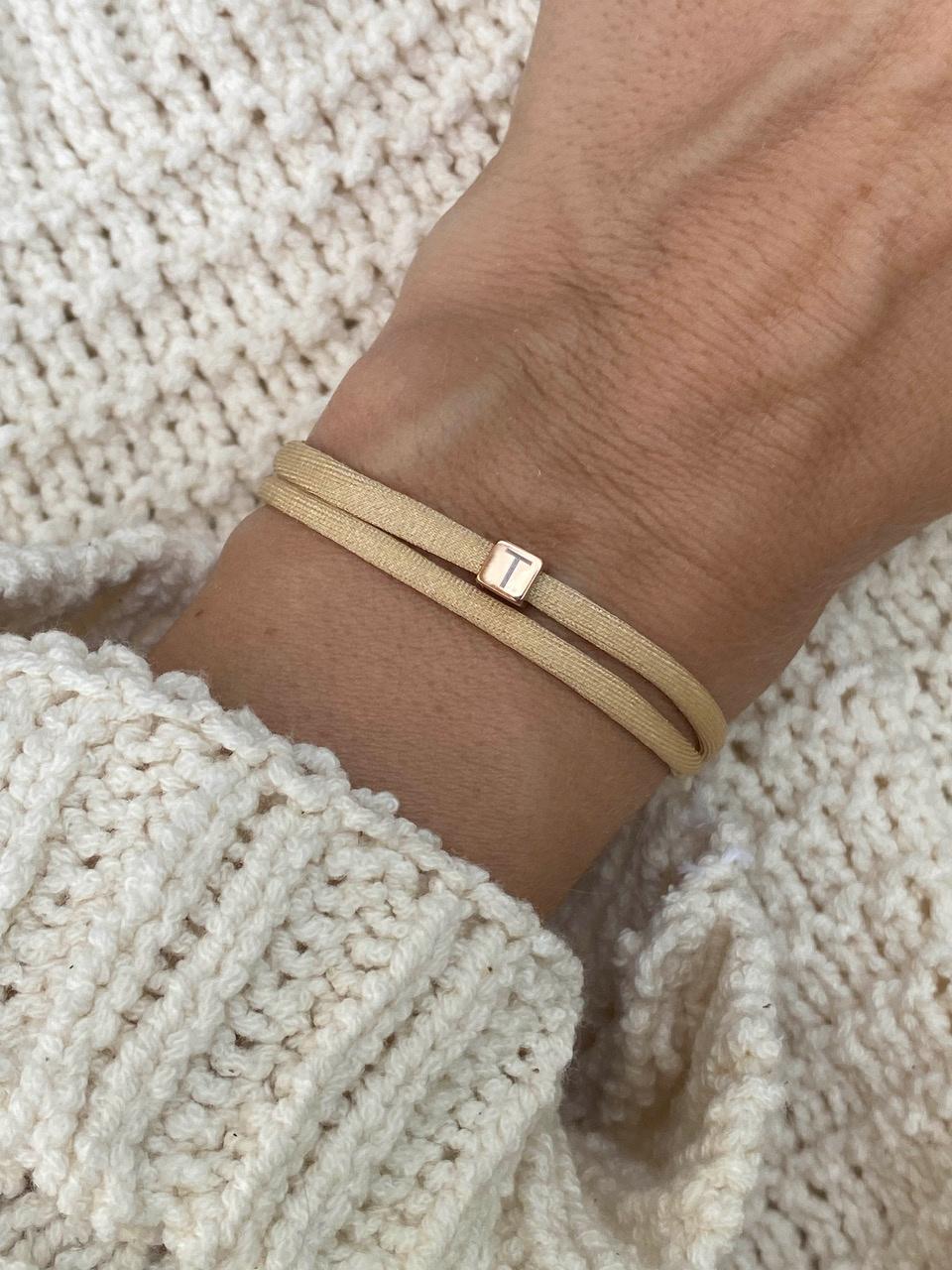 """N*ITIAL  Armband oder Halskette """"T"""" rosegold"""