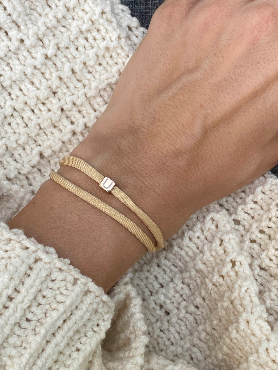 """N*ITIAL  Armband oder Halskette """"U"""" rosegold"""