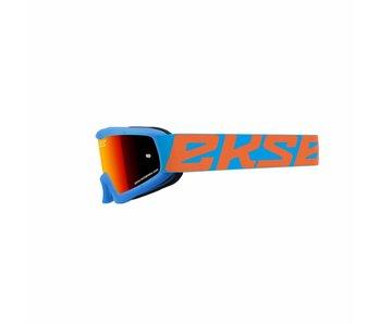EKS Brand XGROM (youth goggle)  Cyan Blue, flo orange/ Red  lens