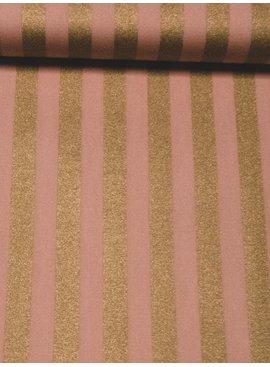 12,50€ Per Meter - Roze Gouden Strepen - Bedrukte Katoen