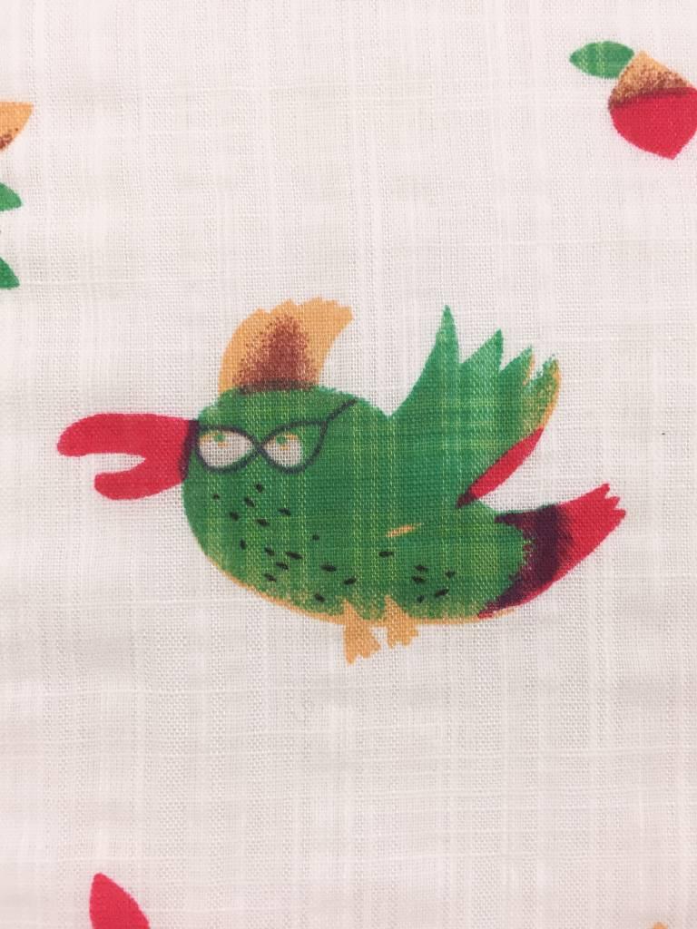 11€ p/m - Funny Birds - Bedrukte Katoen