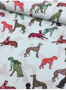 2,60m x 145cm - Gekleurde Honden - Crepe