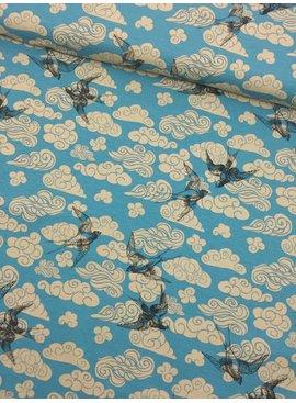 0,60m x 1,50m - Zwaluw op Oudblauw - Bedrukte Tricot