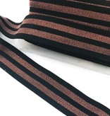 3,70€ p/m - Glitter elastiek Koper/Zwart - 4cm