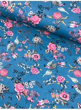 16€ p/m - Digitaal Vogel met Bloemen op Blauw - Tricot Bedrukt