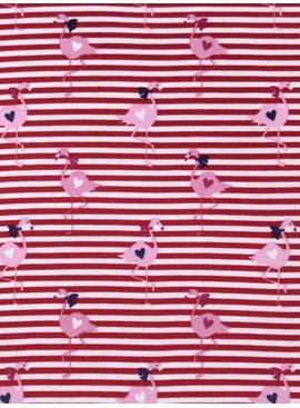 11,50€ p/m - Flamingo Gestreept Rood - Tricot Bedrukt