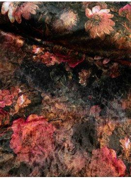 11,50€ p/m - Rood Bruine Bloemen - Velours