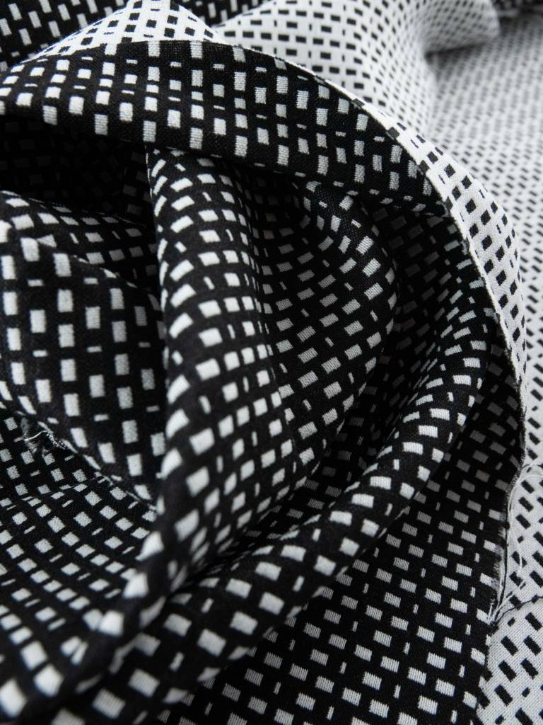 11,50€ p/m - Zwart Wit Rechthoekjes - Elastisch Katoen (lengte)